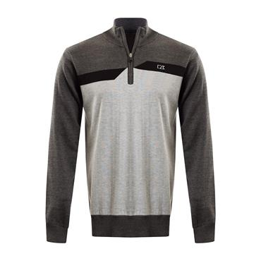 Cutter & Buck Gents Staggered Striped Lined Windblock Sweater Charcoal - Silver