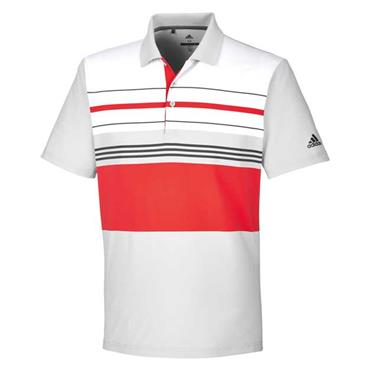 adidas Gents Ultimate365 Engineered Block Polo Shirt Grey - Red