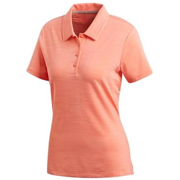 adidas Ladies Ultimate Short Sleeve Polo Shirt Chalk - Coral