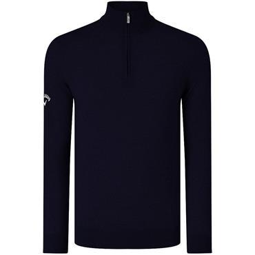 Callaway Gents Ribbed Merino 1/4 Zip Sweater Peacoat