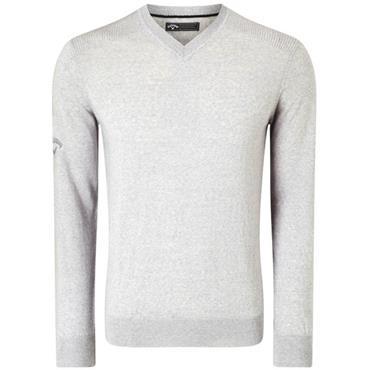Callaway Gents Ribbed V-Neck Merino Sweater Silver