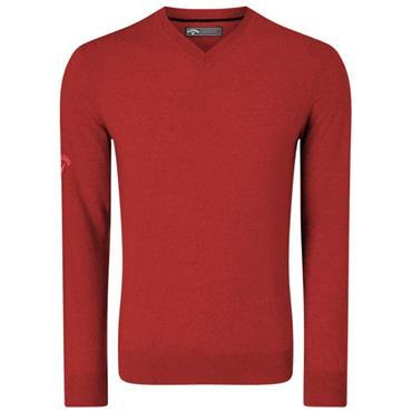 Callaway Gents Ribbed V-Neck Merino Sweater Tango Red