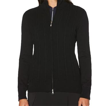 Callaway Ladies Cashmere Striped Full Zip Jacket Black