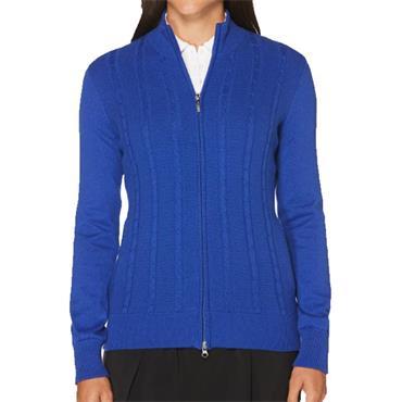Callaway Ladies Cashmere Striped Full Zip Jacket Blue