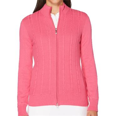 Callaway Ladies Cashmere Striped Full Zip Jacket Magenta