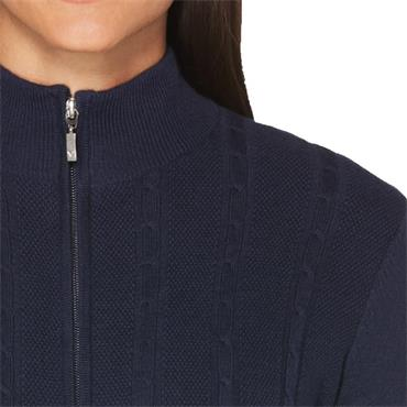 Callaway Ladies Cashmere Striped Full Zip Jacket Peacoat