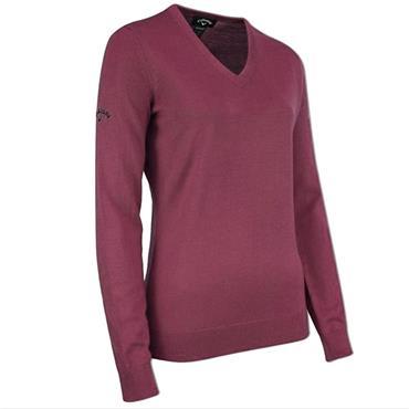 Callaway Ladies V Neck Merino Sweater Magenta - Purple