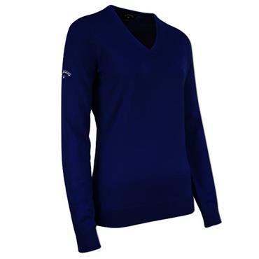 Callaway Ladies V-Neck Merino Sweater Navy