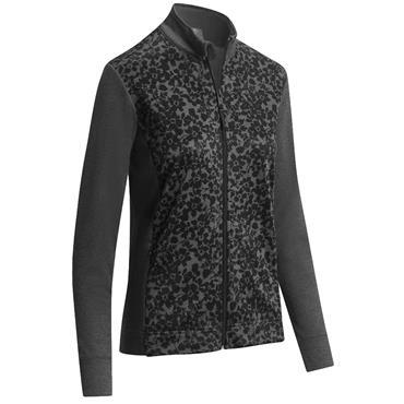Callaway Ladies Floral Fleece Jacket Black - White
