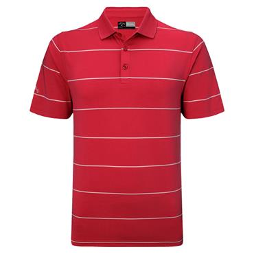Callaway Gents Chev Auto Stripe Polo Shirt Tango Red