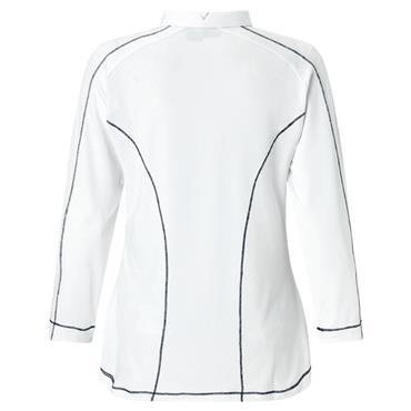 Callaway Ladies 3/4 Sleeve Panel Printed Polo Shirt White