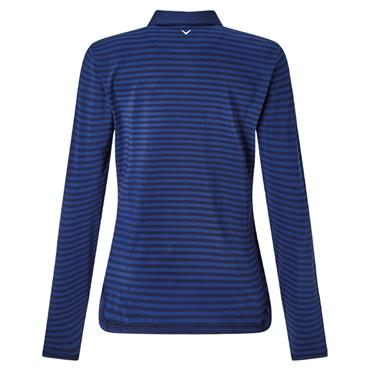 Callaway Ladies Tonal Stripe Long Sleeve Polo Shirt Peacoat