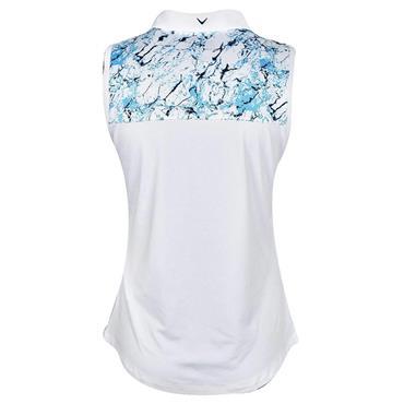 Callaway Ladies Sleeveless Liquid Blue Print Polo Shirt River Blue