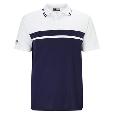 Callaway Gents Essential Core Colour Blocked Pique Polo Shirt Peacoat
