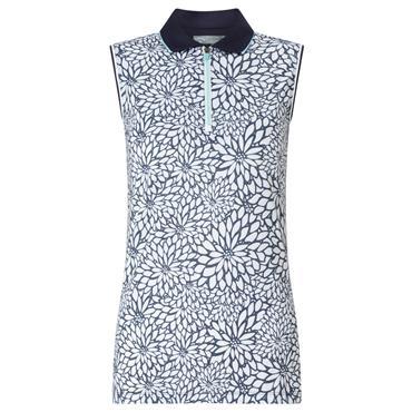 Callaway Ladies Opti-Dri Floral Sleeveless Polo Shirt  Peacoat