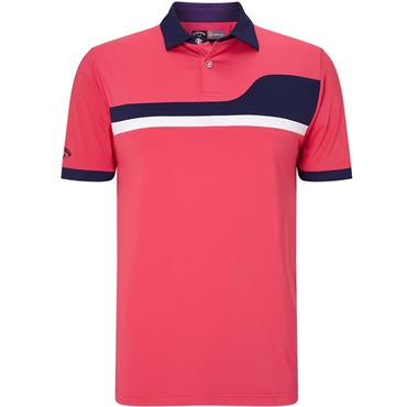 Callaway Gents Asymetrical Color Block Polo Shirt Raspberry