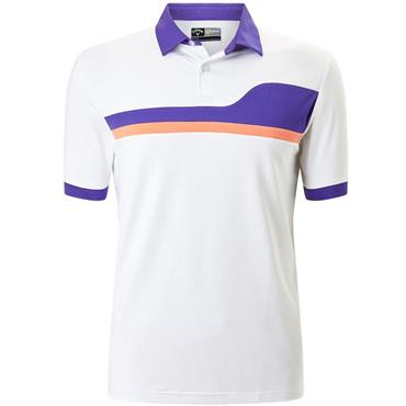 Callaway Gents Asymetrical Color Block Polo Shirt White