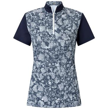 Callaway Ladies Tonal Floral Polo Shirt Peacoat