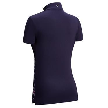 Callaway Ladies Asymmetrical Lace Print Polo Shirt Peacoat