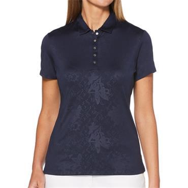 Callaway Ladies Embossed Floral Polo Shirt Peacoat