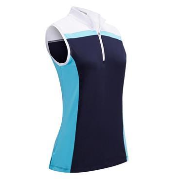 Callaway Ladies ¼ Zip Sleeveless Colour Block Polo Shirt Blue