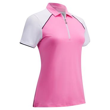 Callaway Ladies 1/4 Zip Colour Block Polo Shirt Pink