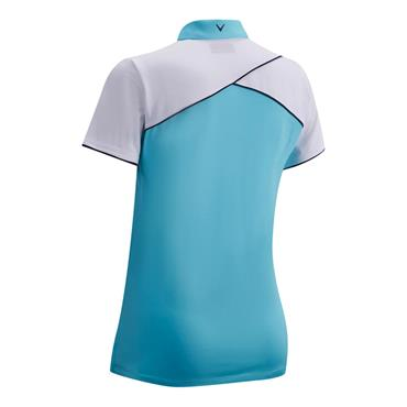 Callaway Ladies 1/4 Zip Colour Block Polo Shirt River Blue