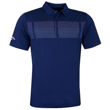 Callaway Gents Birdseye Print Polo Shirt Blue