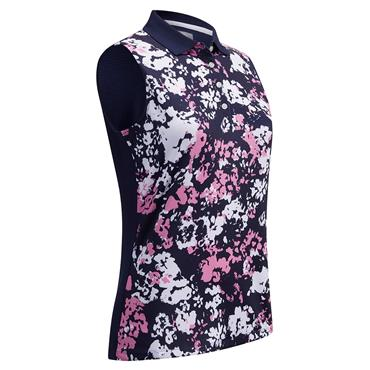 Callaway Ladies Sleeveless Floral Print Polo Shirt Peacoat