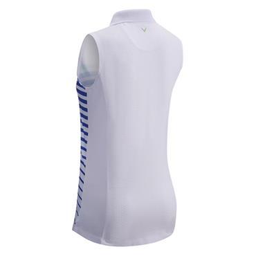 Callaway Ladies Sleeveless Stripe Polo Shirt White