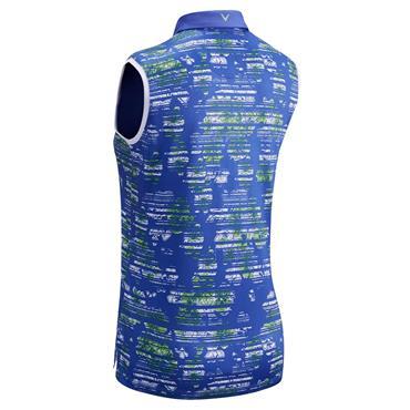 Callaway Ladies Sleeveless Floral Printed Polo Shirt Amparo Blue