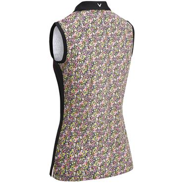 Callaway Ladies Ditsy Print Sleeveless Polo Caviar