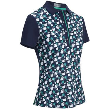 Callaway Ladies Mini Flower Print Polo Peacoat