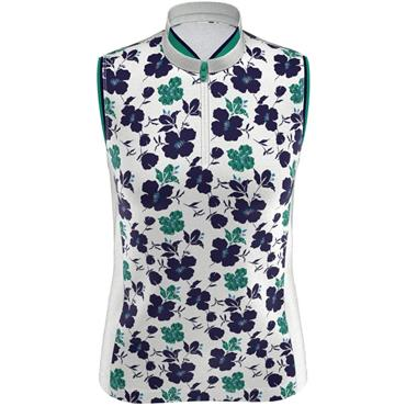 Callaway Ladies Sleeveless Flower Print Polo White