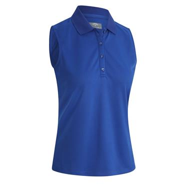 Callaway Ladies Solid Knit Sleeveless Polo Blue