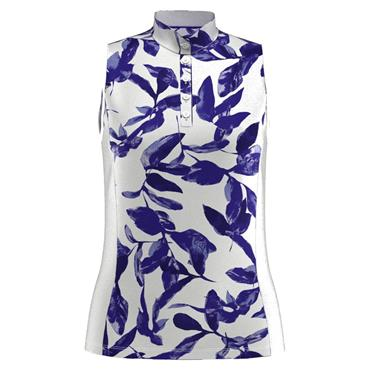 Callaway Ladies Sleeveless Soft Focus Floral Polo White