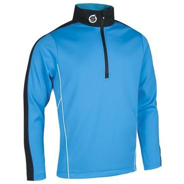 Sunderland Gents Chamonix Long Sleeve Zip Neck Mid Layer Golf Top Azure - Black - White