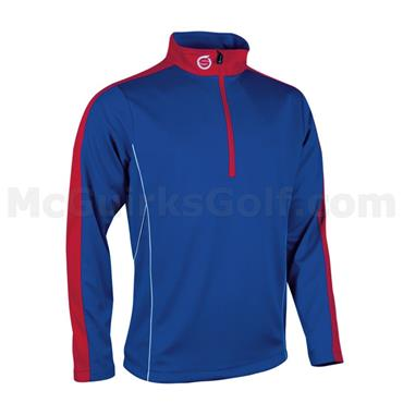 Sunderland Gents Chamonix Long Sleeve Zip Neck Mid Layer Golf Top Blue - Red - White