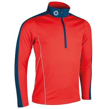 Sunderland Gents Chamonix Long Sleeve Zip Neck Mid Layer Golf Top Inferno - Petrol - White