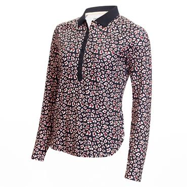 Calvin Klein Golf Ladies Capella Long Sleeve Polo Shirt Navy - Pink