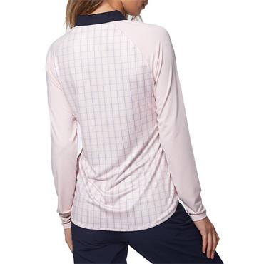 Calvin Klein Golf Ladies Capella Long Sleeve Polo Shirt Pink - Mist