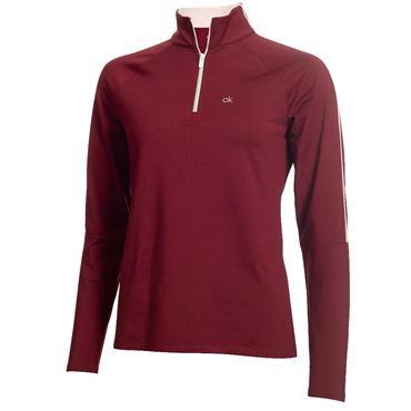 Calvin Klein Golf Ladies Aquila Zip Neck Top Burgundy