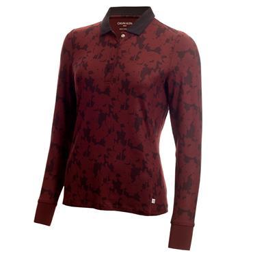 Calvin Klein Golf Ladies Altman Long Sleeve Printed Polo Shirt Blackberry