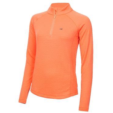 Calvin Klein Golf Ladies Mina Zip Neck Top Coral
