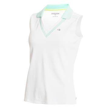 Calvin Klein Golf Ladies Pedro Sleeveless Polo Shirt White - Aqua