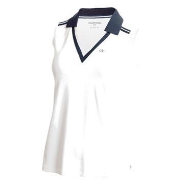 Calvin Klein Golf Ladies Pedro Sleeveless Polo Shirt White - Navy