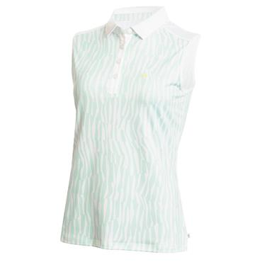 Calvin Klein Golf Ladies Catalina Sleeveless Polo Shirt Aqua - White