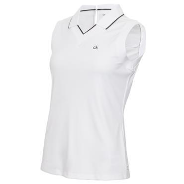 Calvin Klein Golf Ladies Caspian Sleeveless Polo White - Black