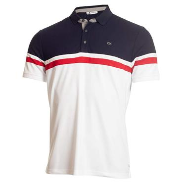 Calvin Klein Golf Gents Pendant Polo Shirt White - Navy