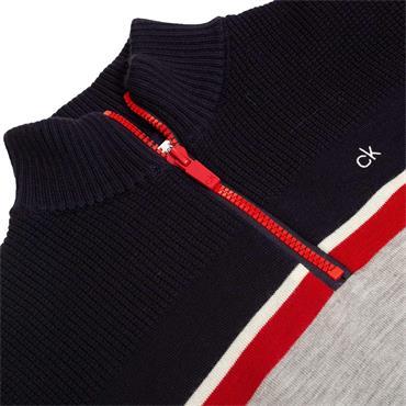 Calvin Klein Golf Gents Compass 1/2 Zip Lined Sweater Grey - Navy